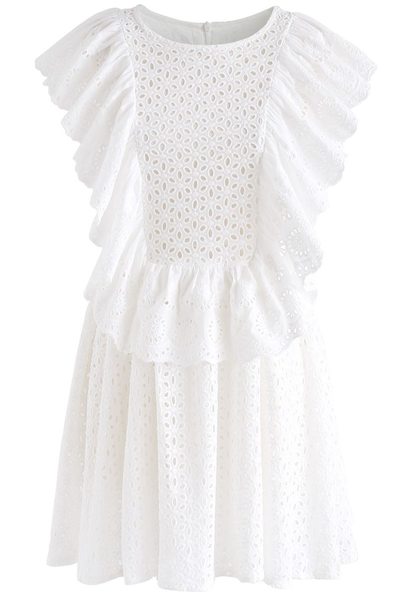 All Eyelet Embroidered Ruffle Sleeveless Dress in White