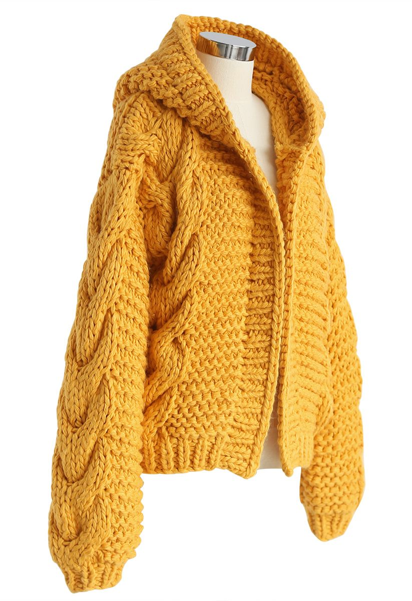 All-Over Warmth Hooded Chunky Cardigan in Mustard