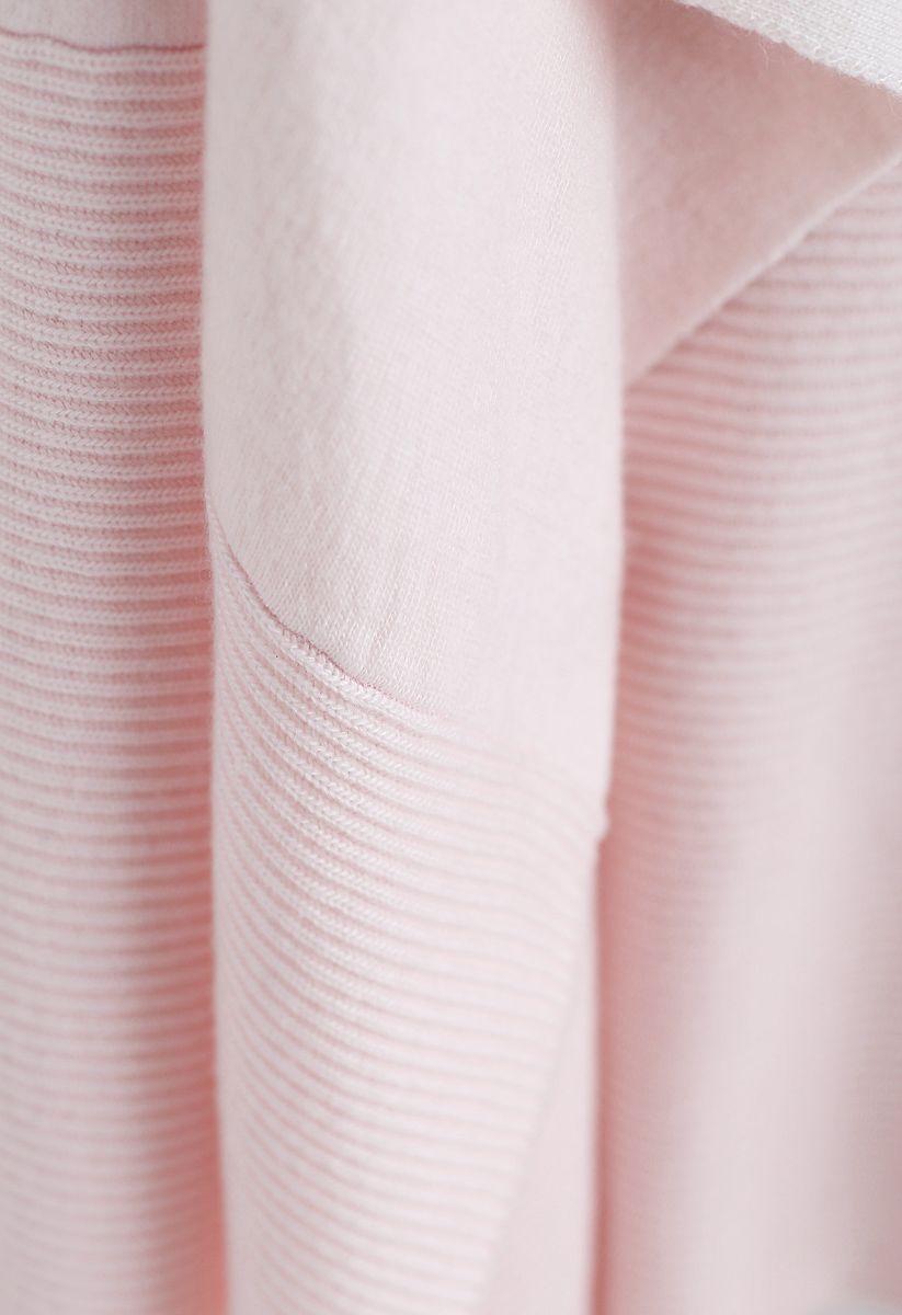 Soft Blush Ribbed Hem Drape Cardigan