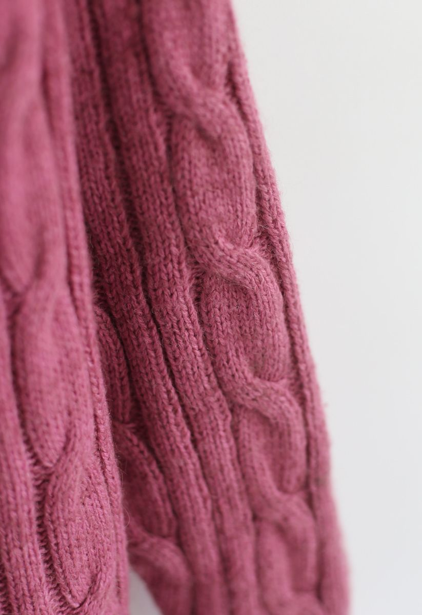 Warmest Hug Cable Knit Longline Cardigan in Berry