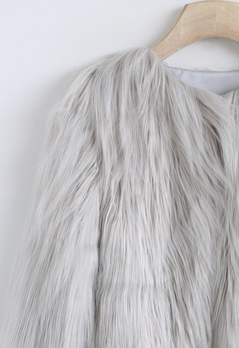 My Chic Faux Fur Coat in Grey For Kids
