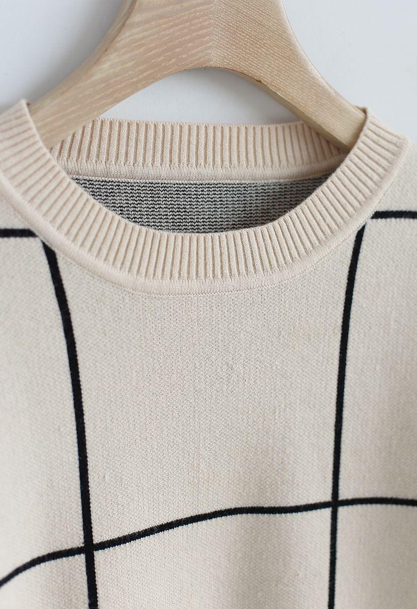 Grid Round Neck Sweater