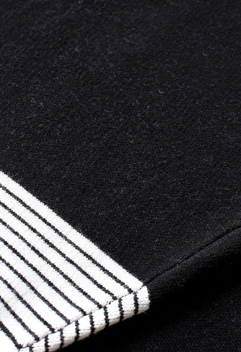 Lie in Black Fields Striped Oversize Knit Cape Sweater