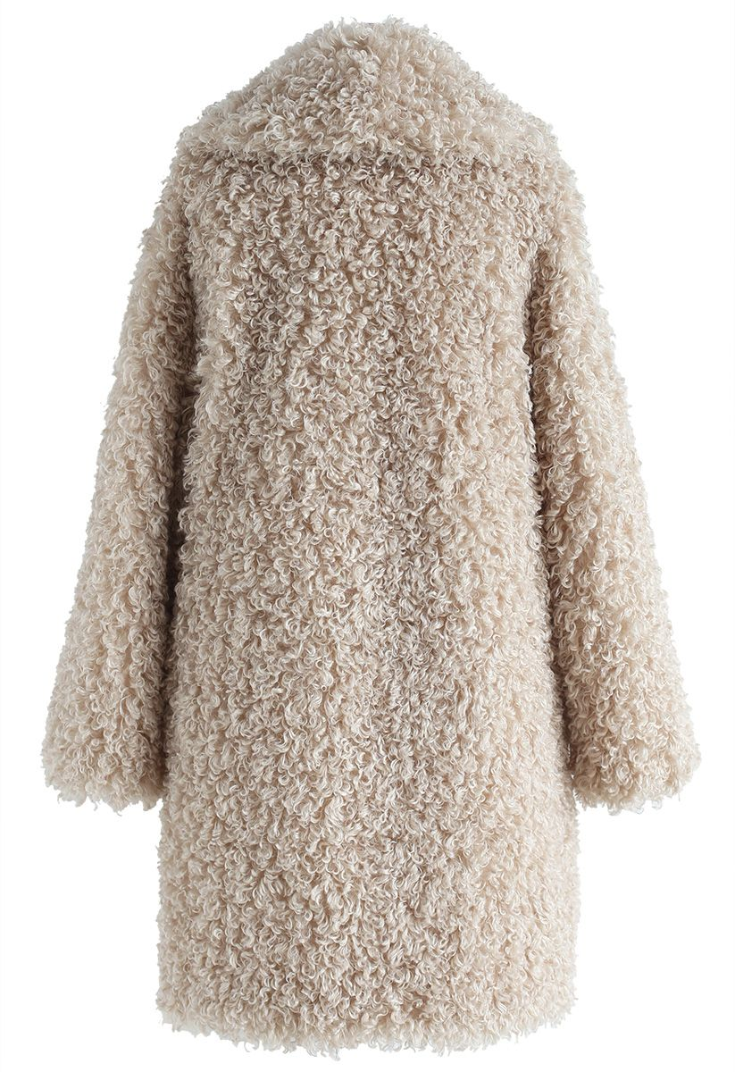 Feeling of Warmth Faux Fur Longline Coat in Sand