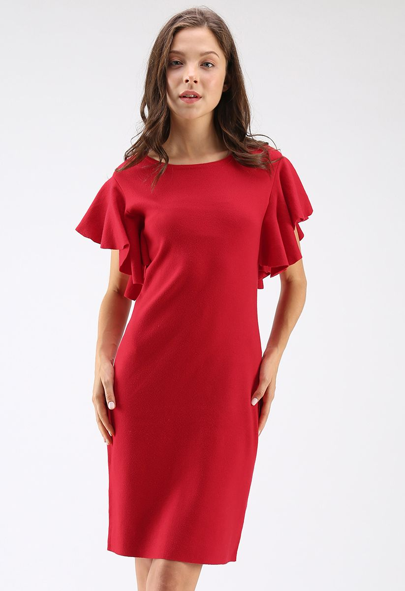 Out of Ordinary Ruffle Shift Knit Dress in Red