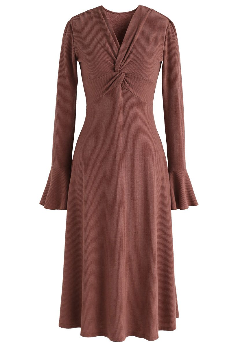 Brisk and Twist Knit Dress in Red Brown