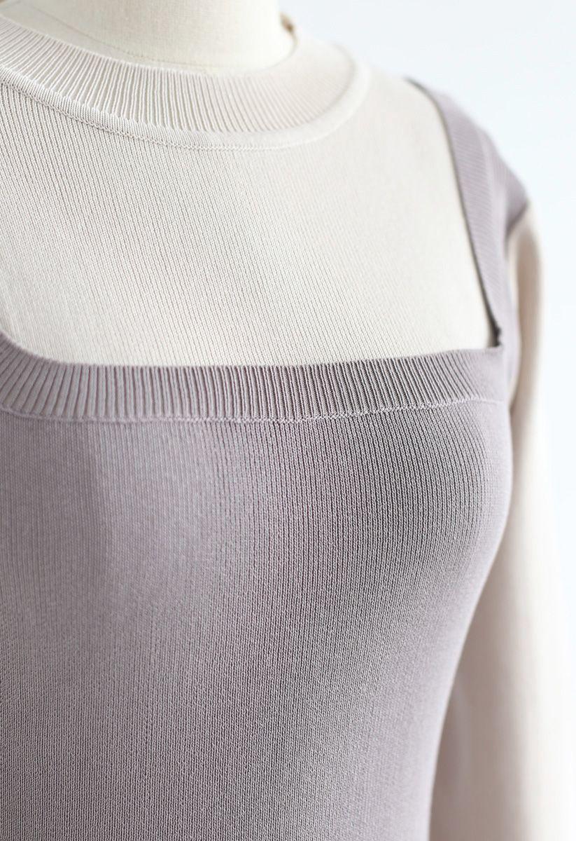 Elegant Identity Fake Two-Piece Knit Dress in Grey