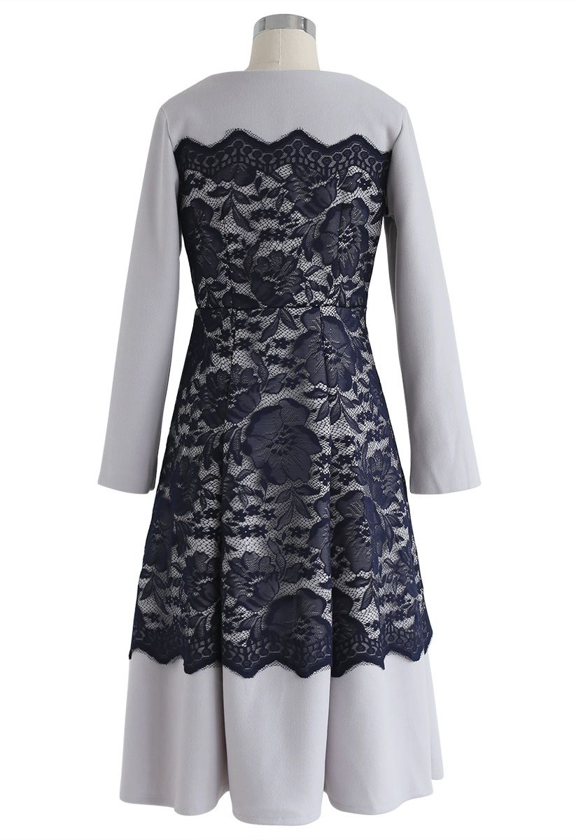 Keep You Warm Lace Trimming Wool-Blended Dress