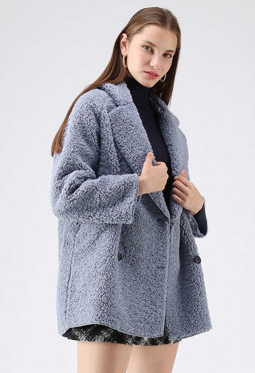 Out with A Sherpa Coat in Dusty Blue
