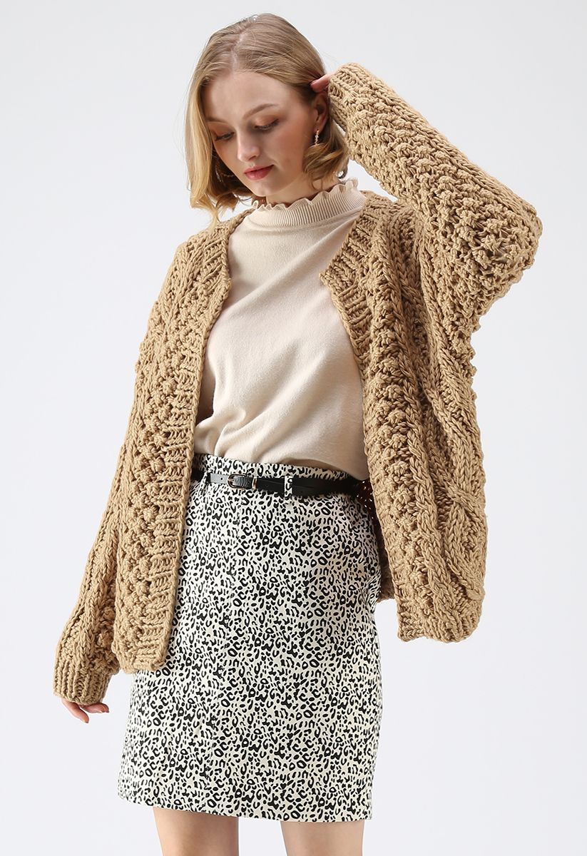 Wintry Morning Cable Knit Cardigan in Caramel