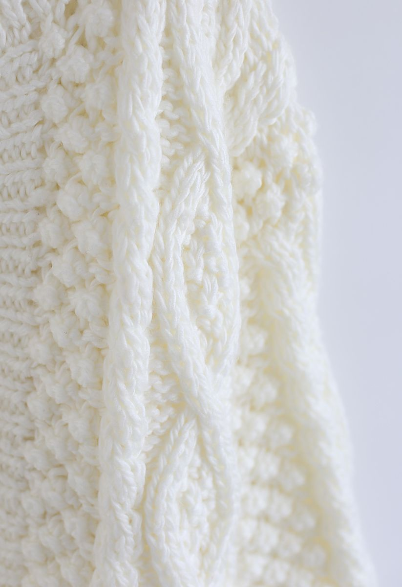 Wintry Morning Cable Knit Cardigan in White