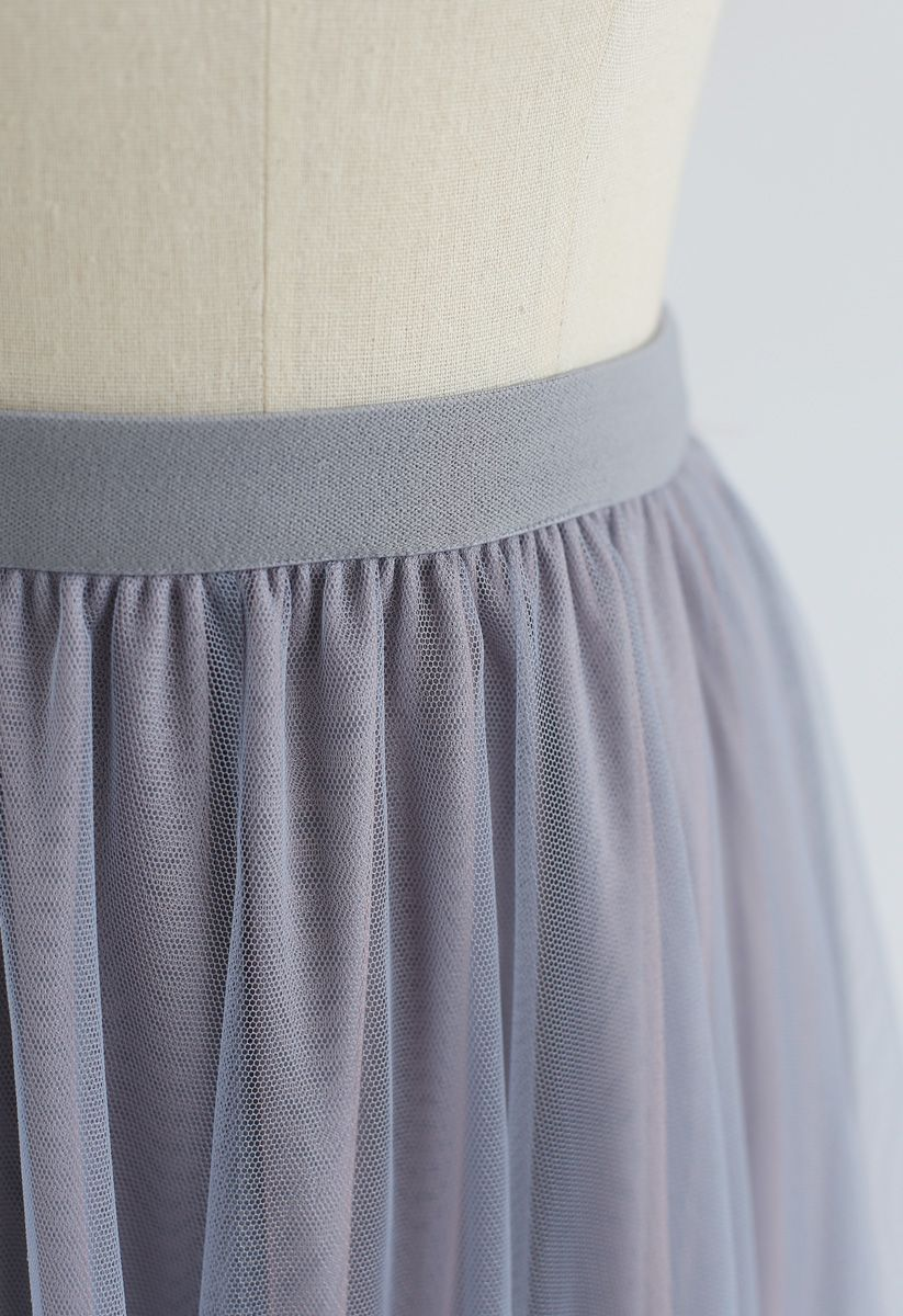 Admired Posture Mesh Tulle Midi Skirt in Grey