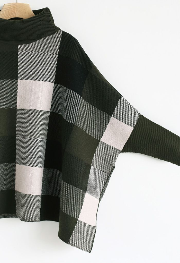 Lie in Check Fields Turtleneck Cape Sweater in Army Green