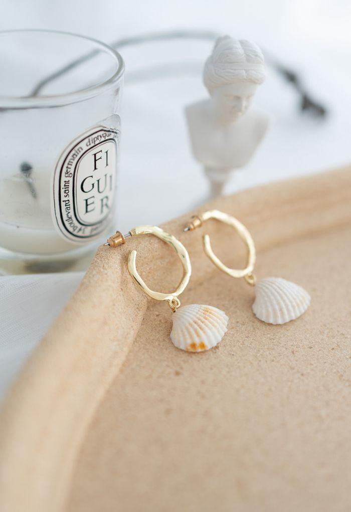 Shell Gold Hoop Earrings