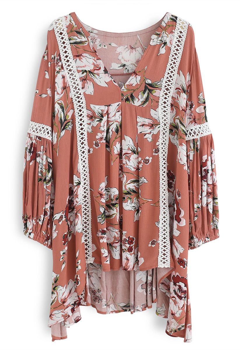 Engrossing Floral V-Neck Tunic in Coral