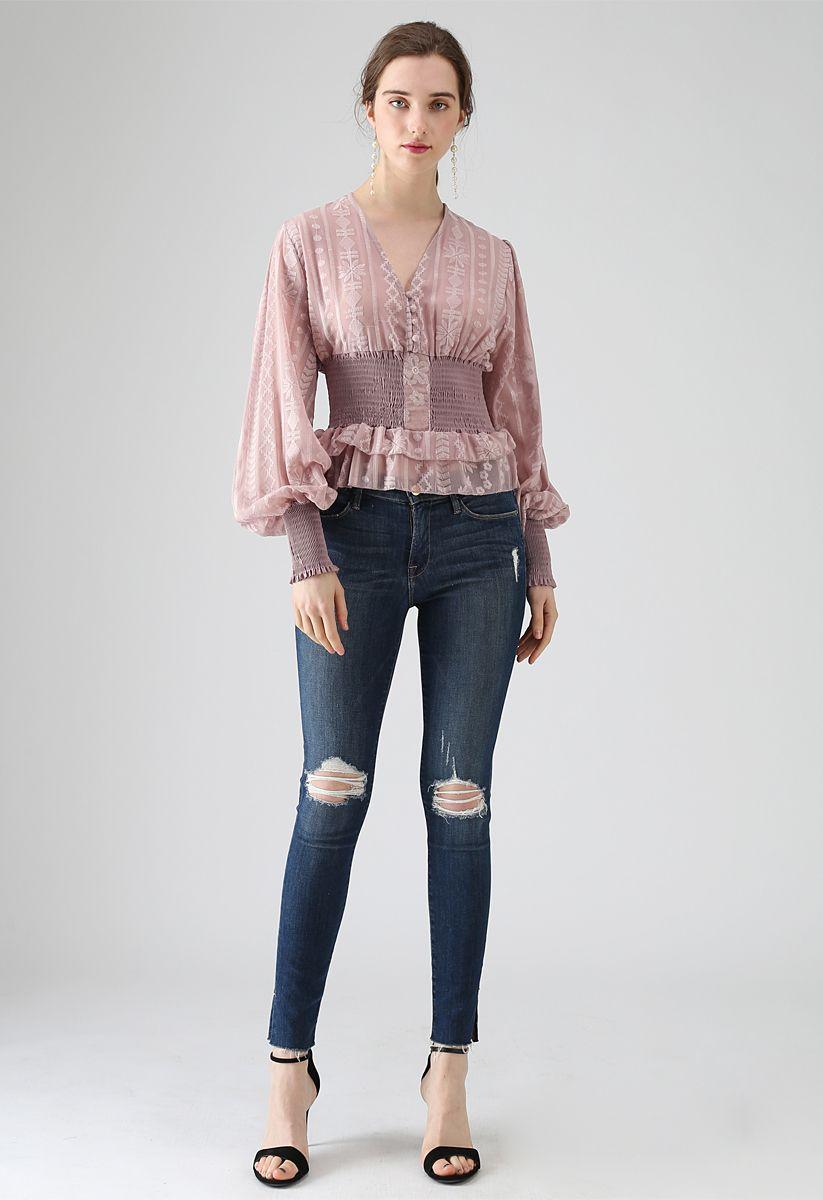 Haze Embroidered Semi-Sheer Crop Top in Pink