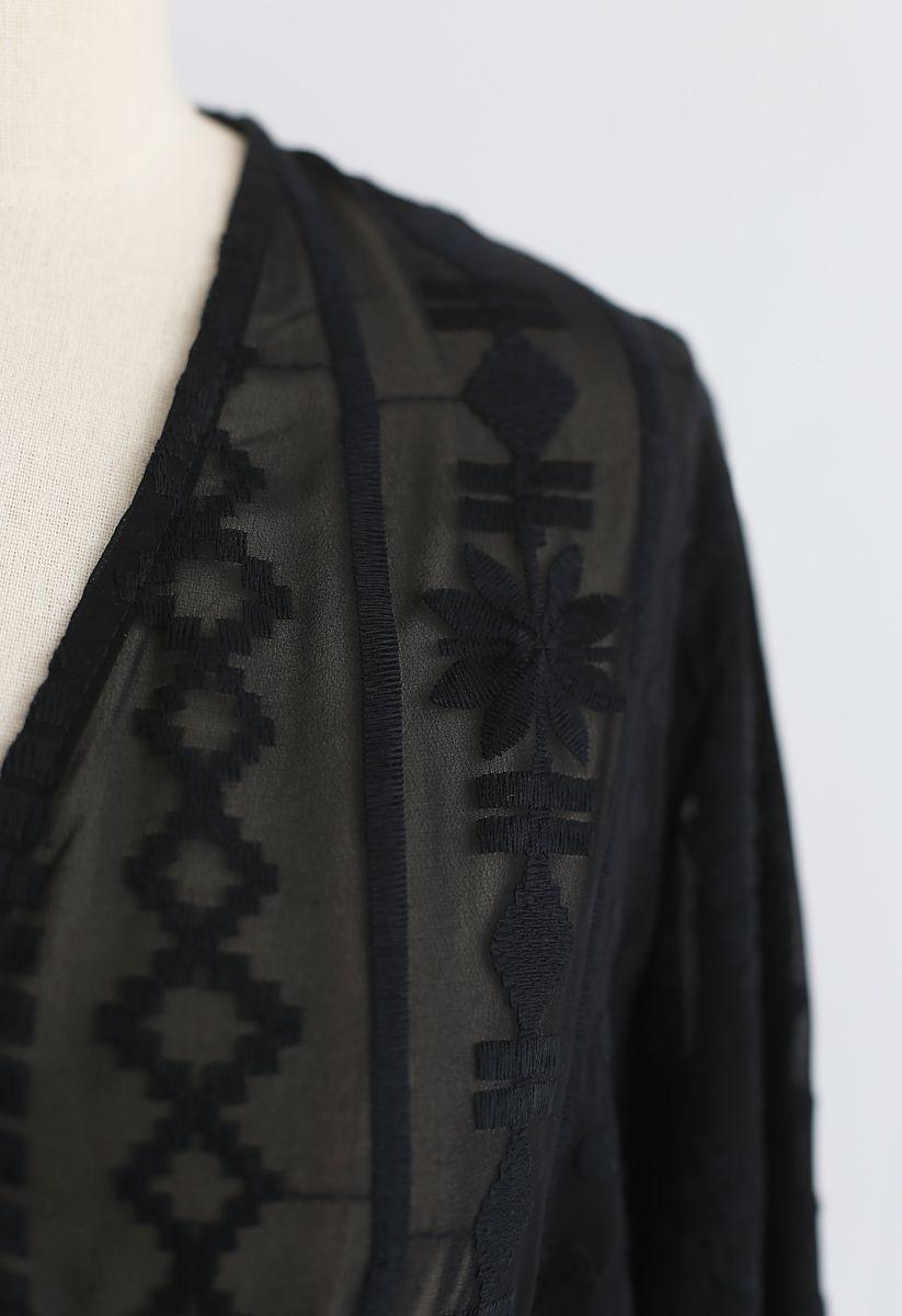 Haze Embroidered Semi-Sheer Crop Top in Black
