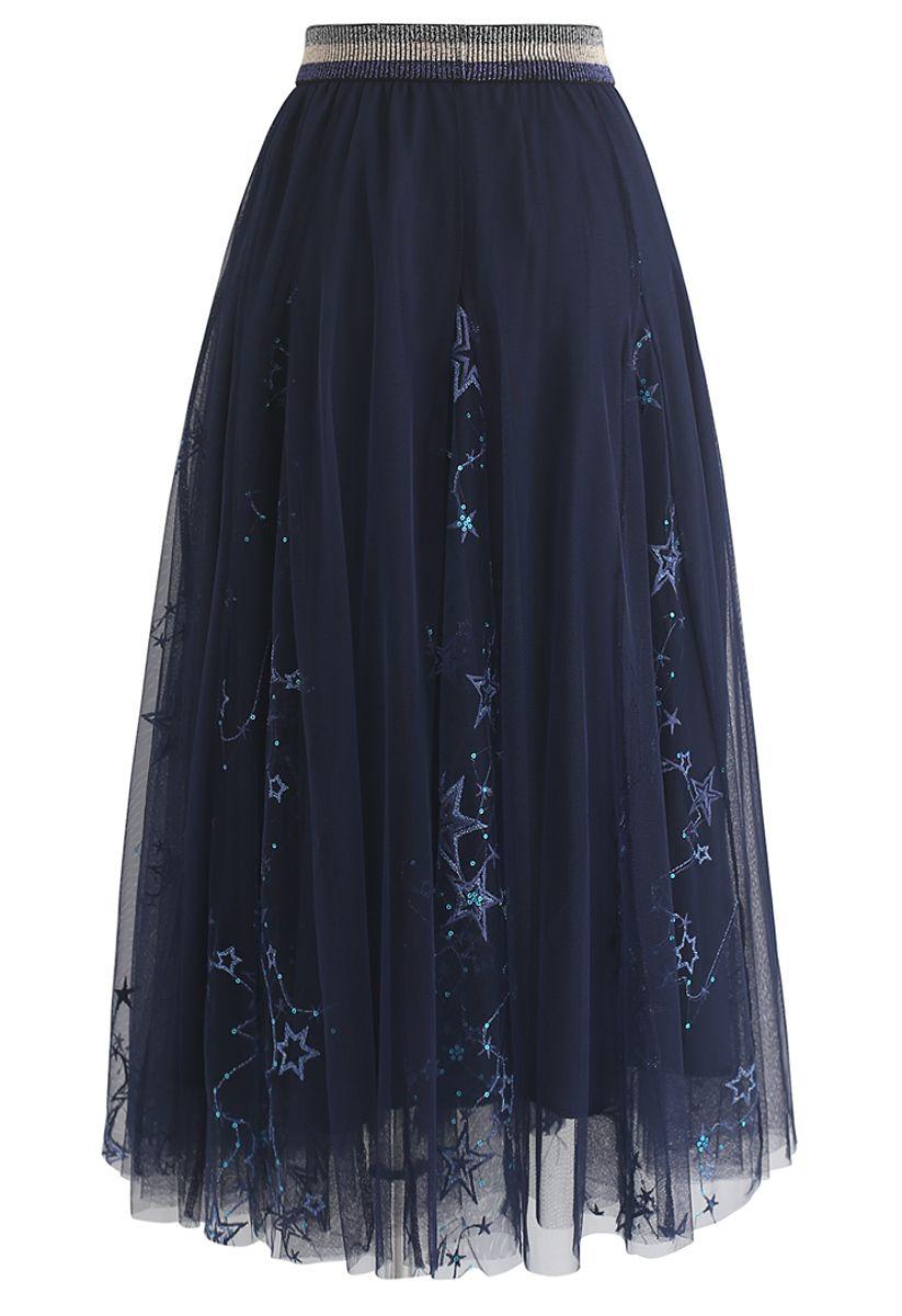 Dazzling Stars Tulle Midi Skirt in Navy