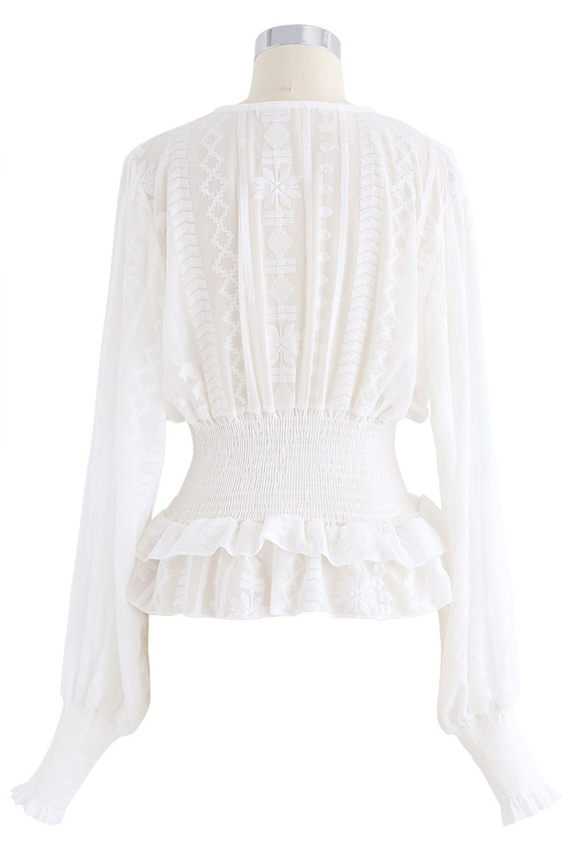Haze Embroidered Semi-Sheer Crop Top in White