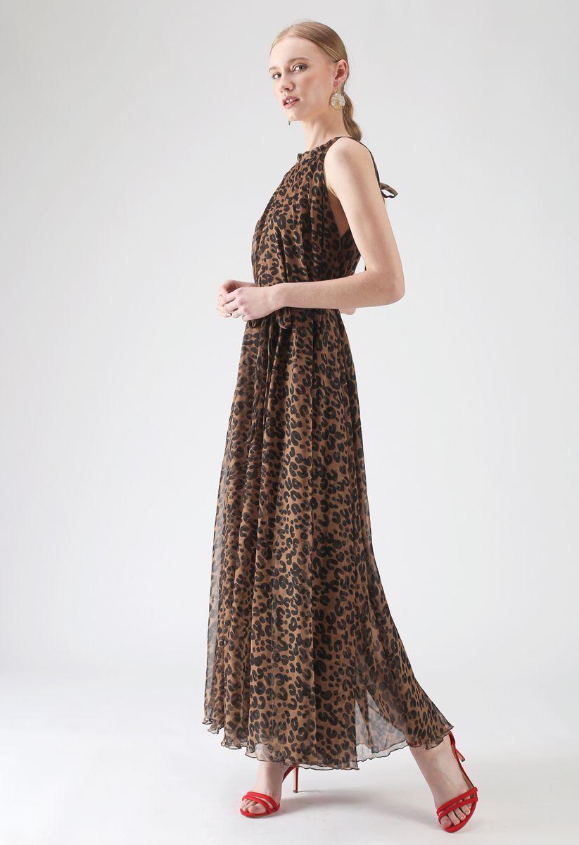 Leopard Watercolor Maxi Slip Dress in Brown