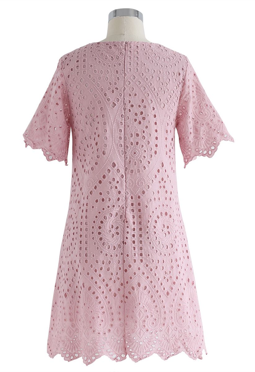 Slow Down Embroidered Eyelet Shift Dress in Pink