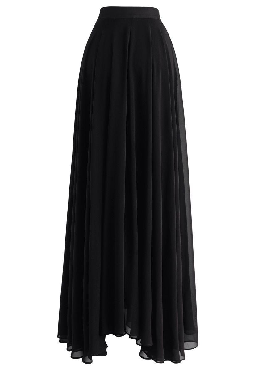 Timeless Favorite Chiffon Maxi Skirt in Black