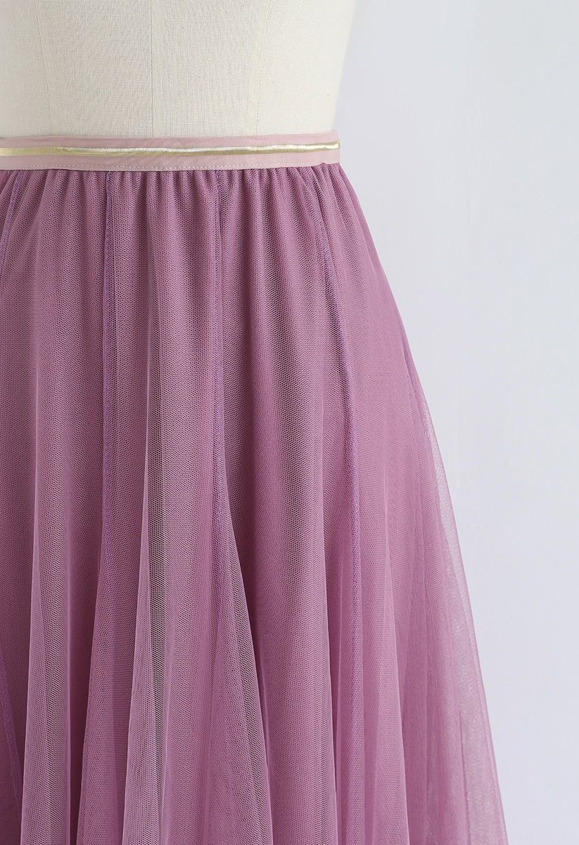 My Secret Weapon Tulle Midi Skirt in Lilac