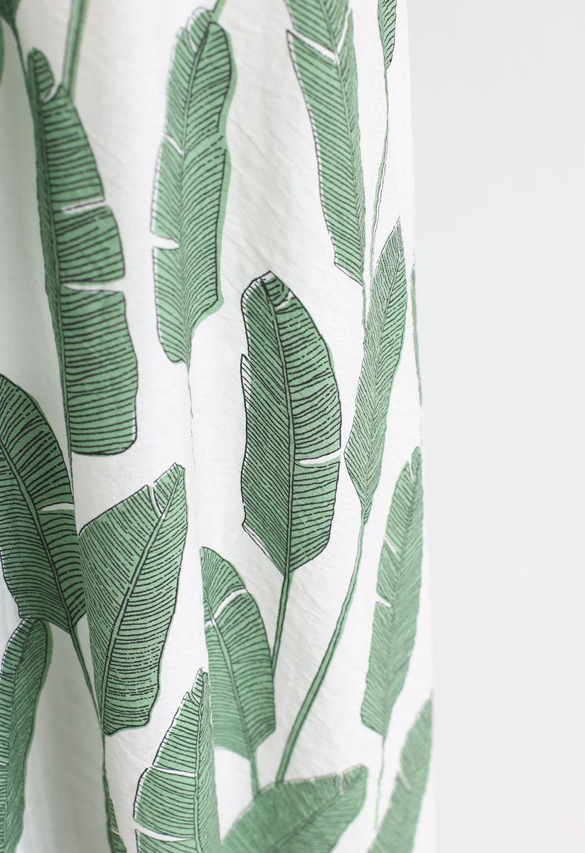 Summer Palm Leaf Print Halter Neck Maxi Dress in Green