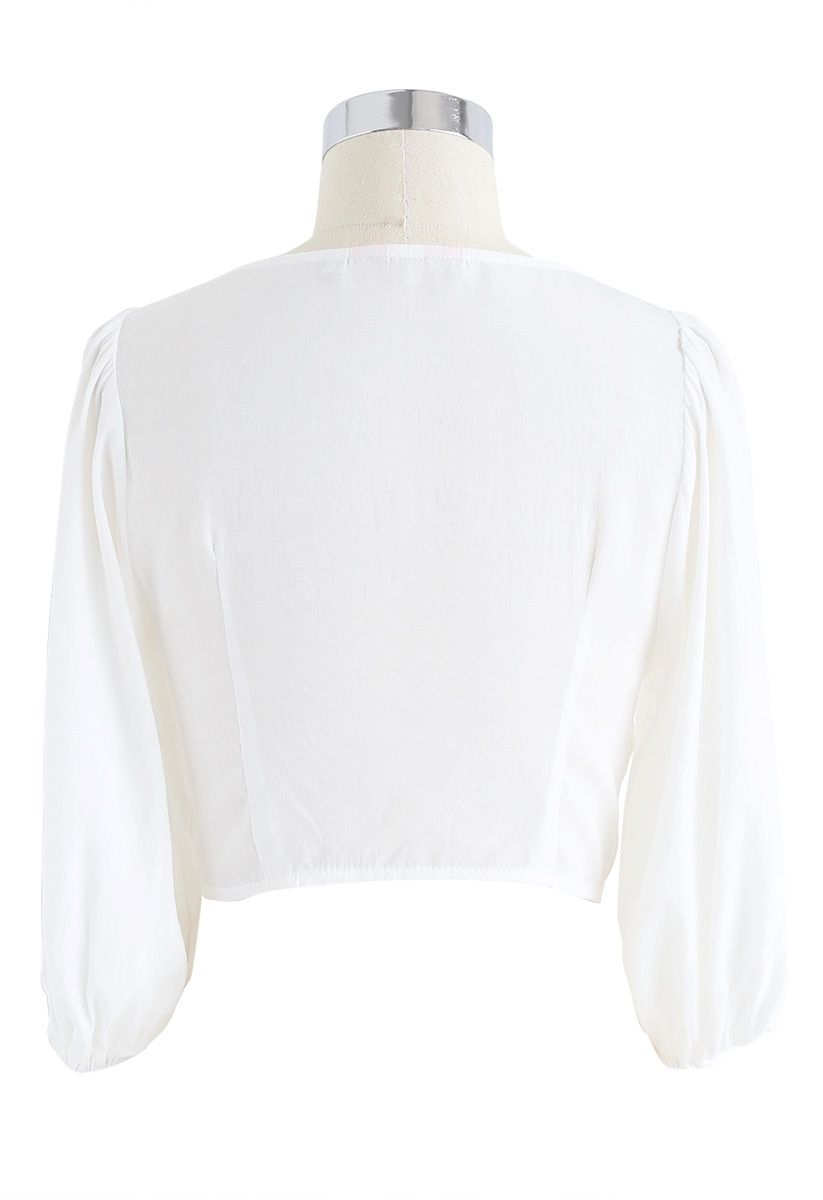 Sweet and Sound Bowknot Crop Top in White