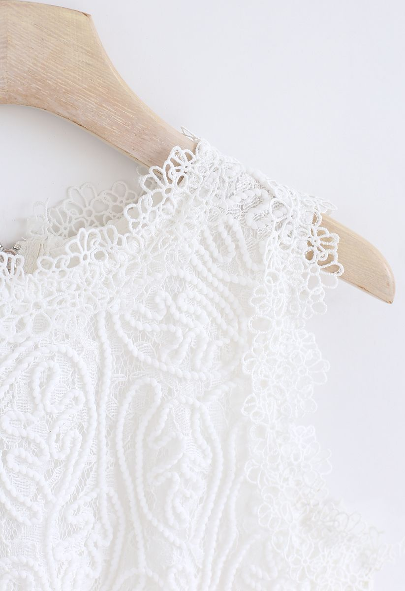 Diva Full Lace Crop Top in White