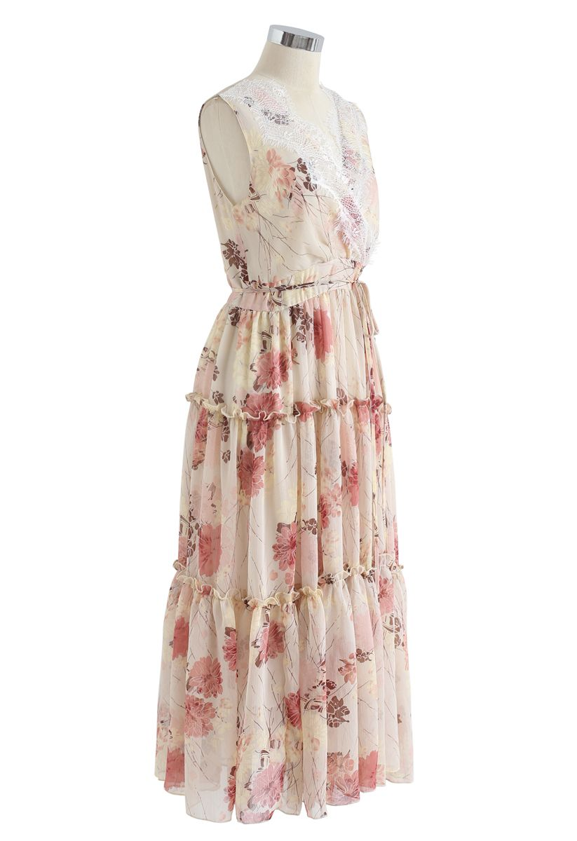 Easy and Breezy Watercolor Chiffon Maxi Dress