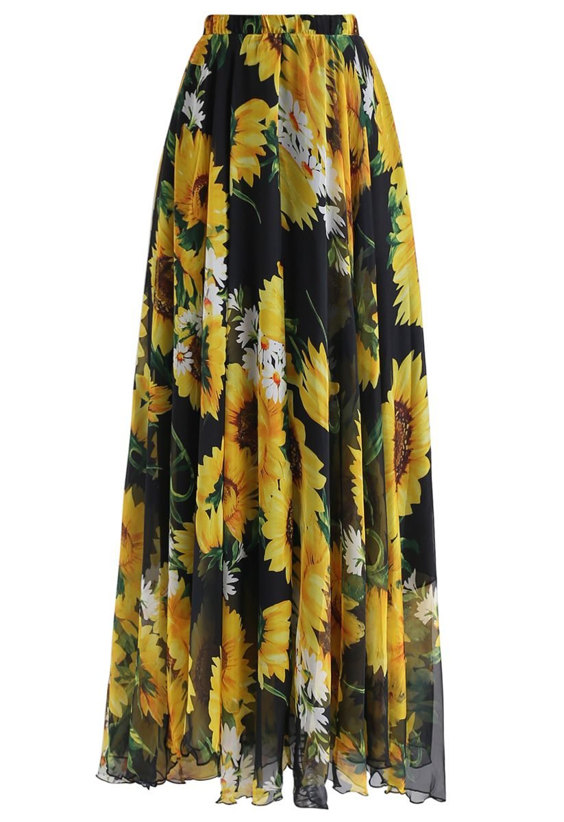 Blooming Sunflower Watercolor Maxi Skirt in Black