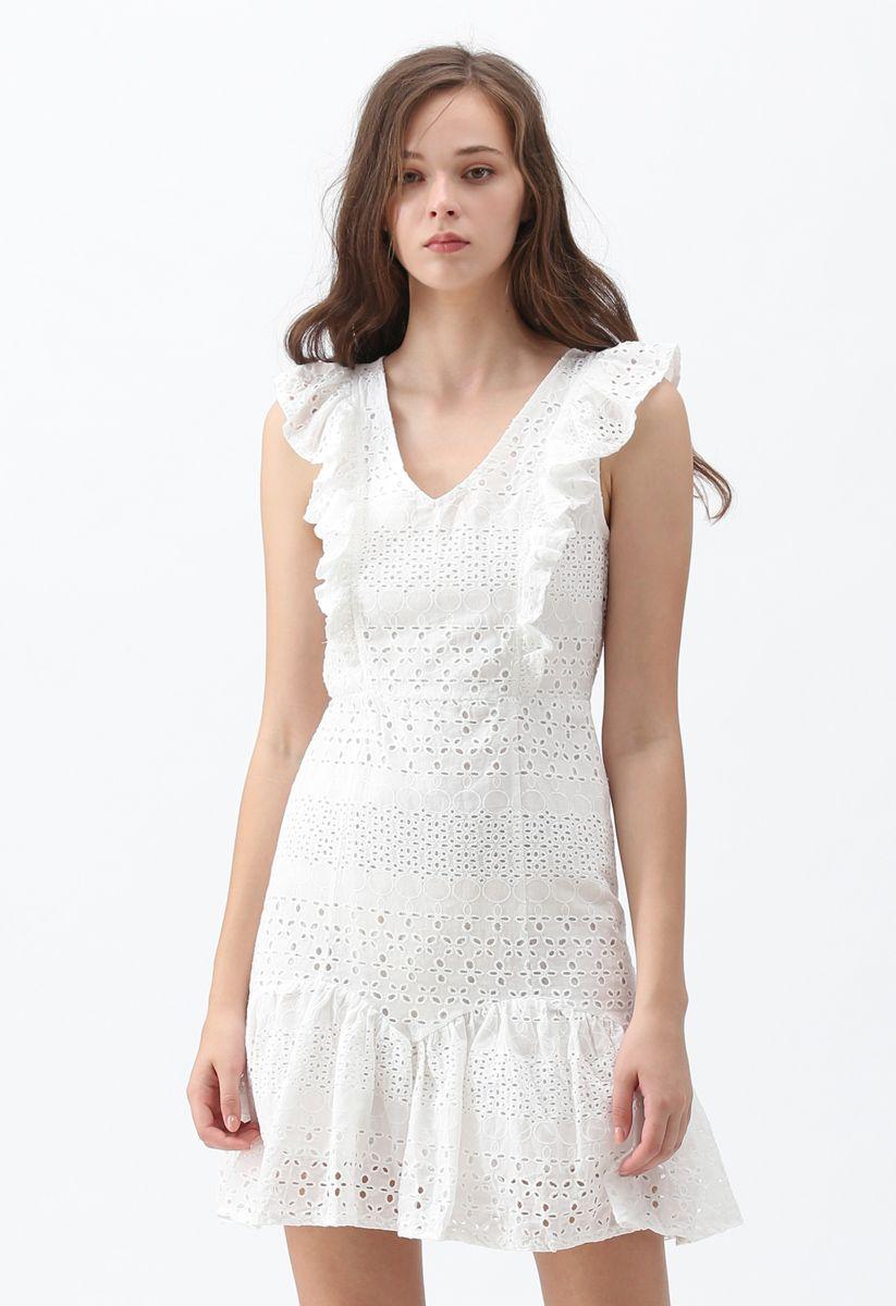 Carry Your Love V-Neck Sleeveless Eyelet Dress