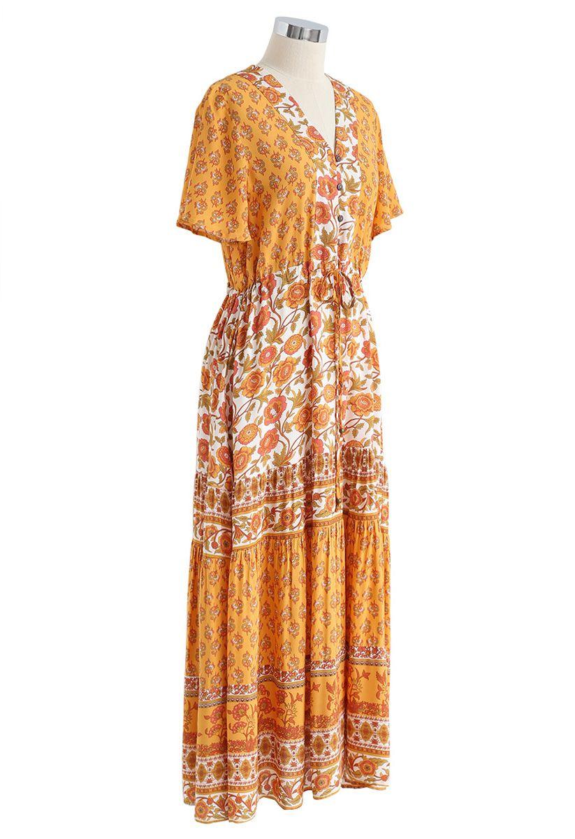 Boho Bomshell Floral Maxi Dress in Mustard