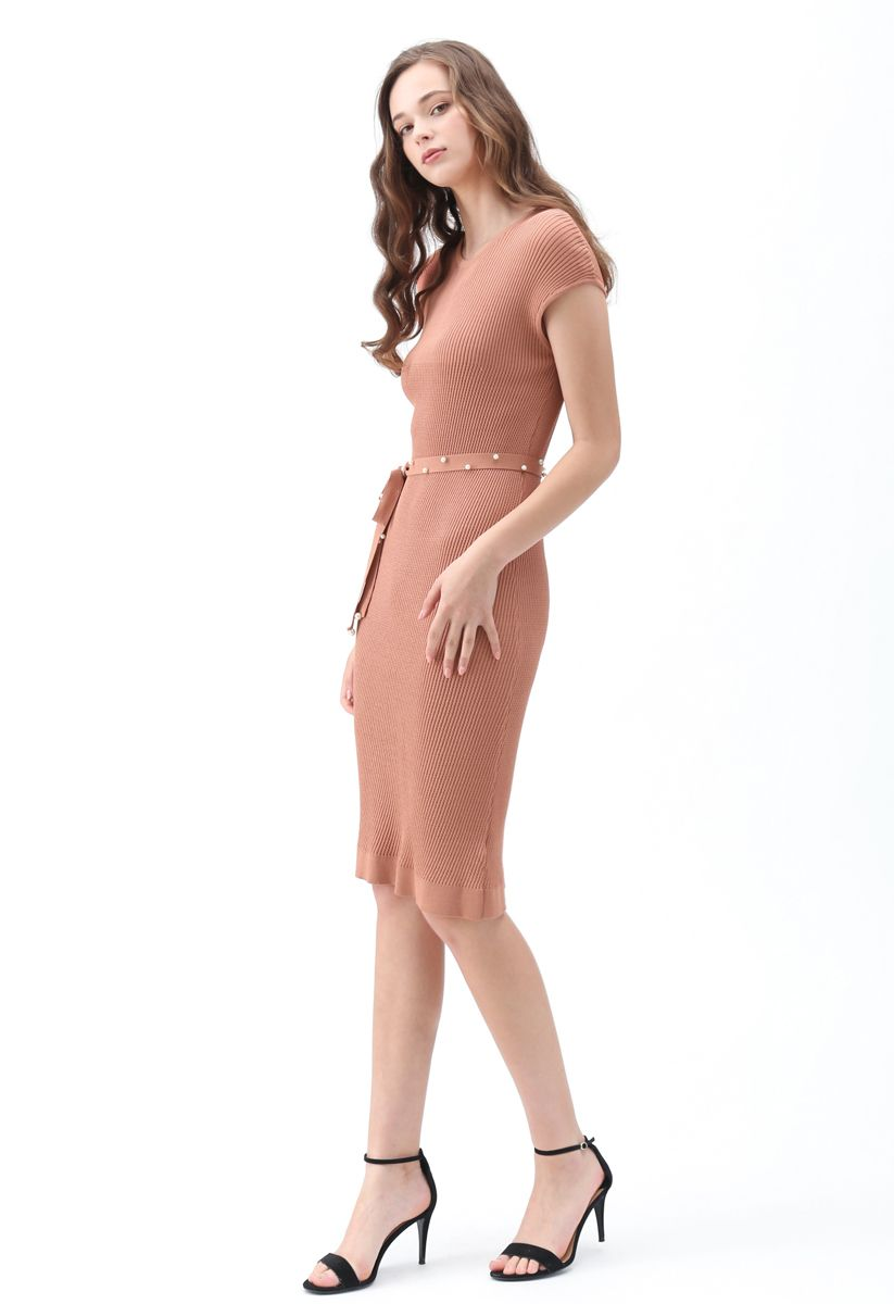 Staring At the Sunset Knit Dress in Coral