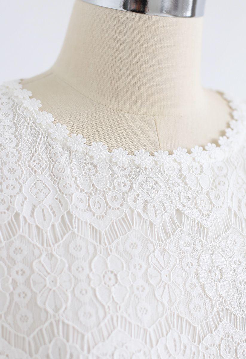 Dream Maker Lace Midi Dress in White