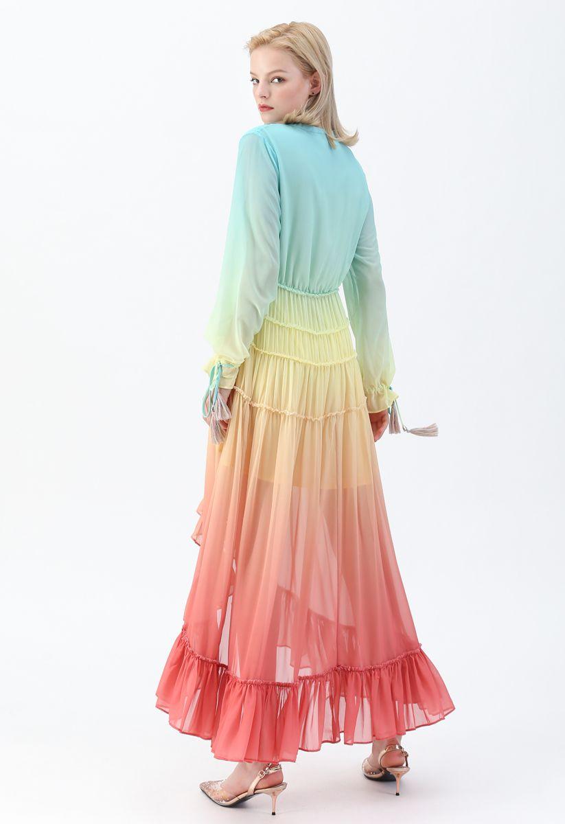 Vacay Paradise Gradient V-Neck Maxi Dress