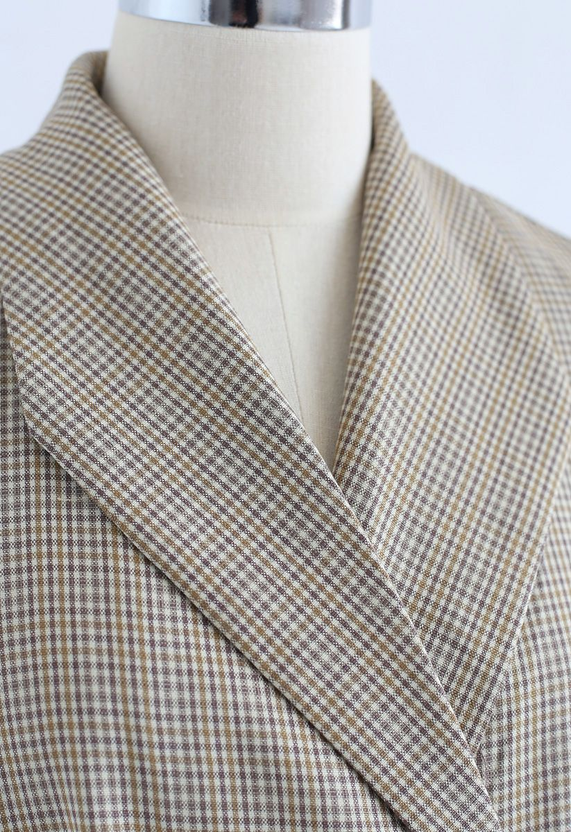 Glamour Double-Breasted Gingham Longline Blazer