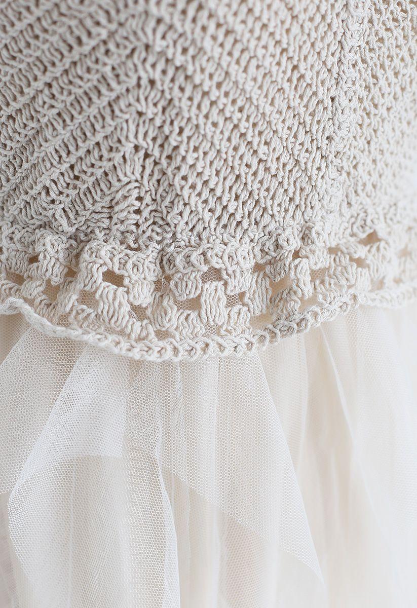 Knit Ruffled Mesh Cami Dress in Cream