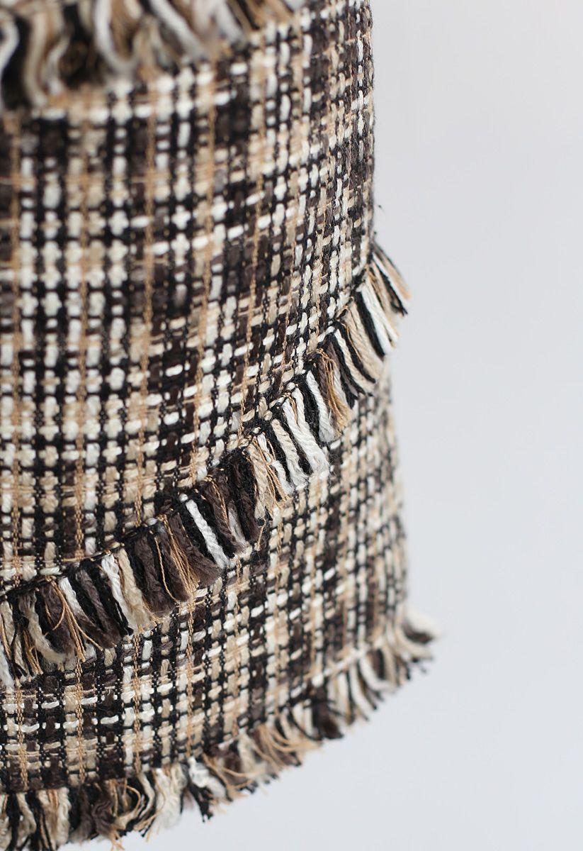 Tasseled Tweed Mini Bud Skirt