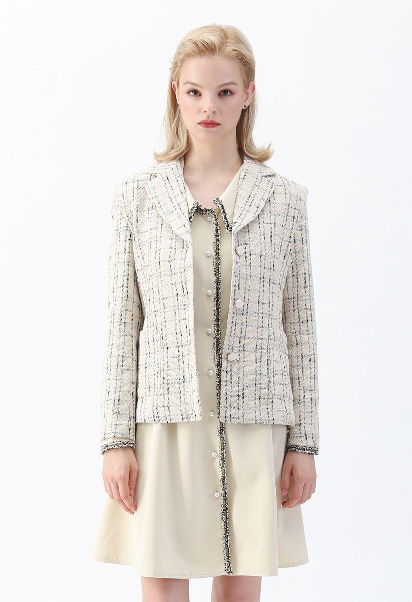 Check Pattern Tweed Button Down Blazer