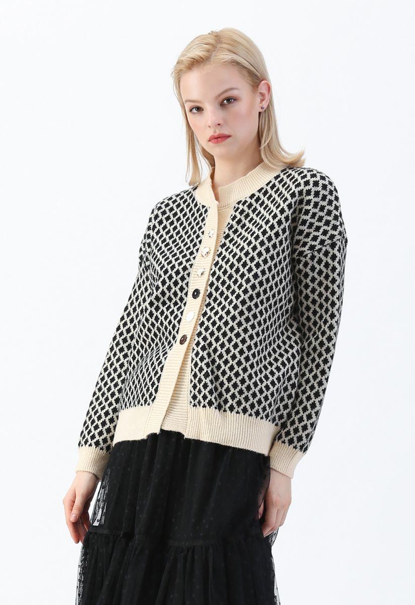 Contrast Diamond Pattern Knit Button Down Cardigan