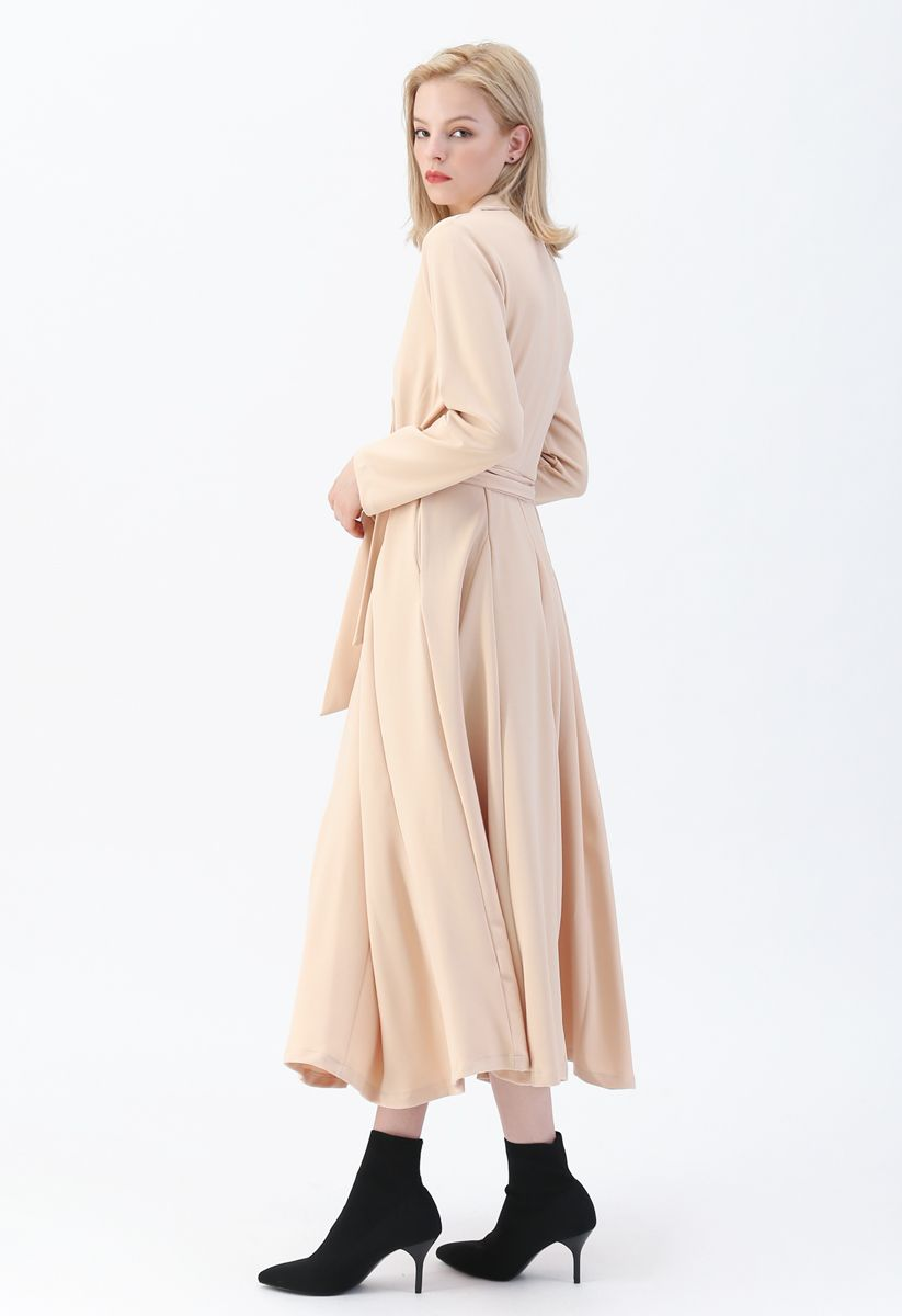Self-Tied Bowknot Double-Breasted Maxi Dress in Cream