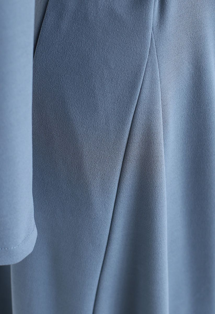 Self-Tied Bowknot Double-Breasted Maxi Dress in Dusty Blue
