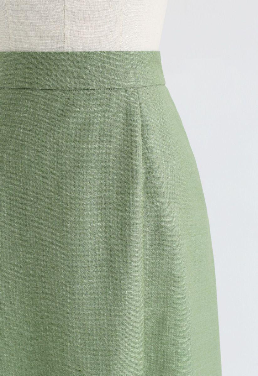 Base Color Split Hem Pencil Skirt in Green