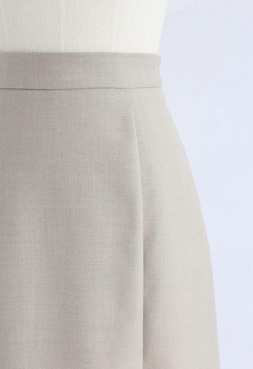Base Color Split Hem Pencil Skirt in Sand