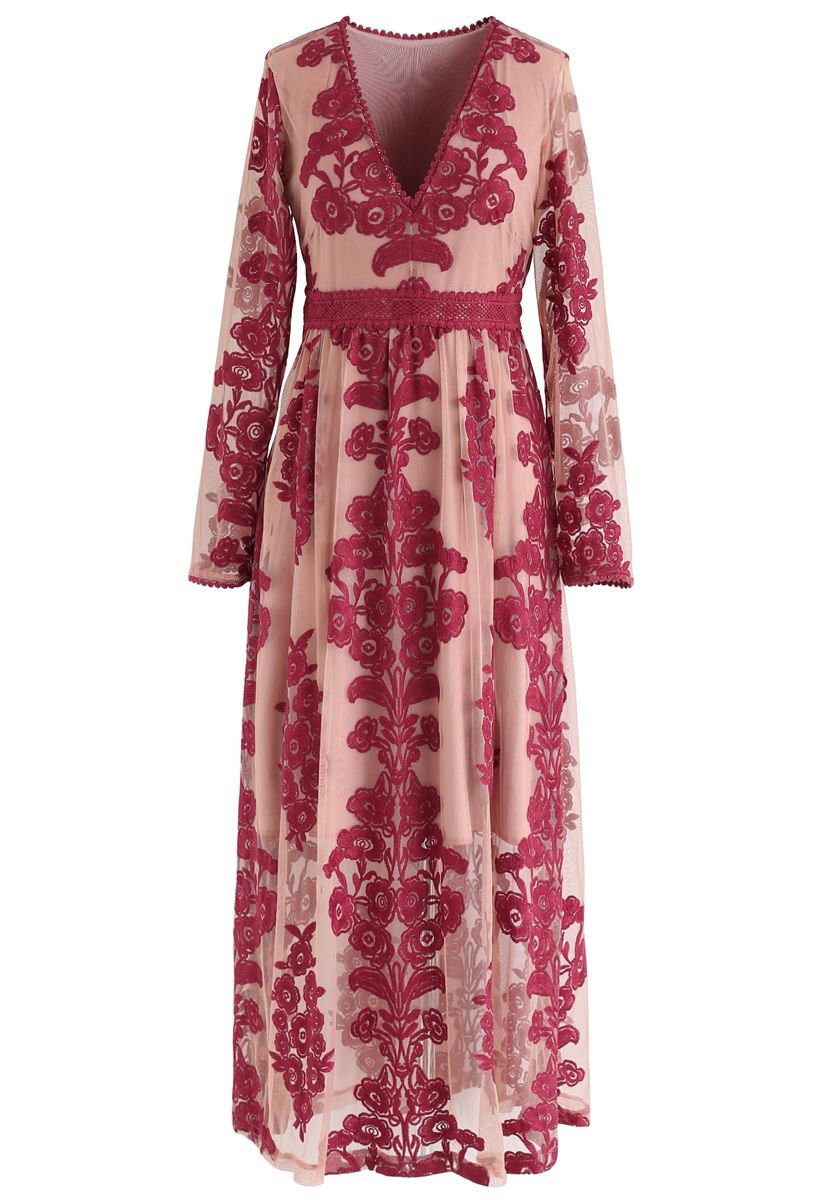 V-Neck Floral Embroidered Mesh Maxi Dress in Wine