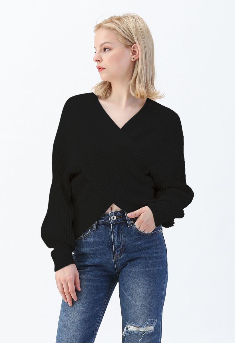 Crisscross Ribbed Knit Crop Sweater in Black