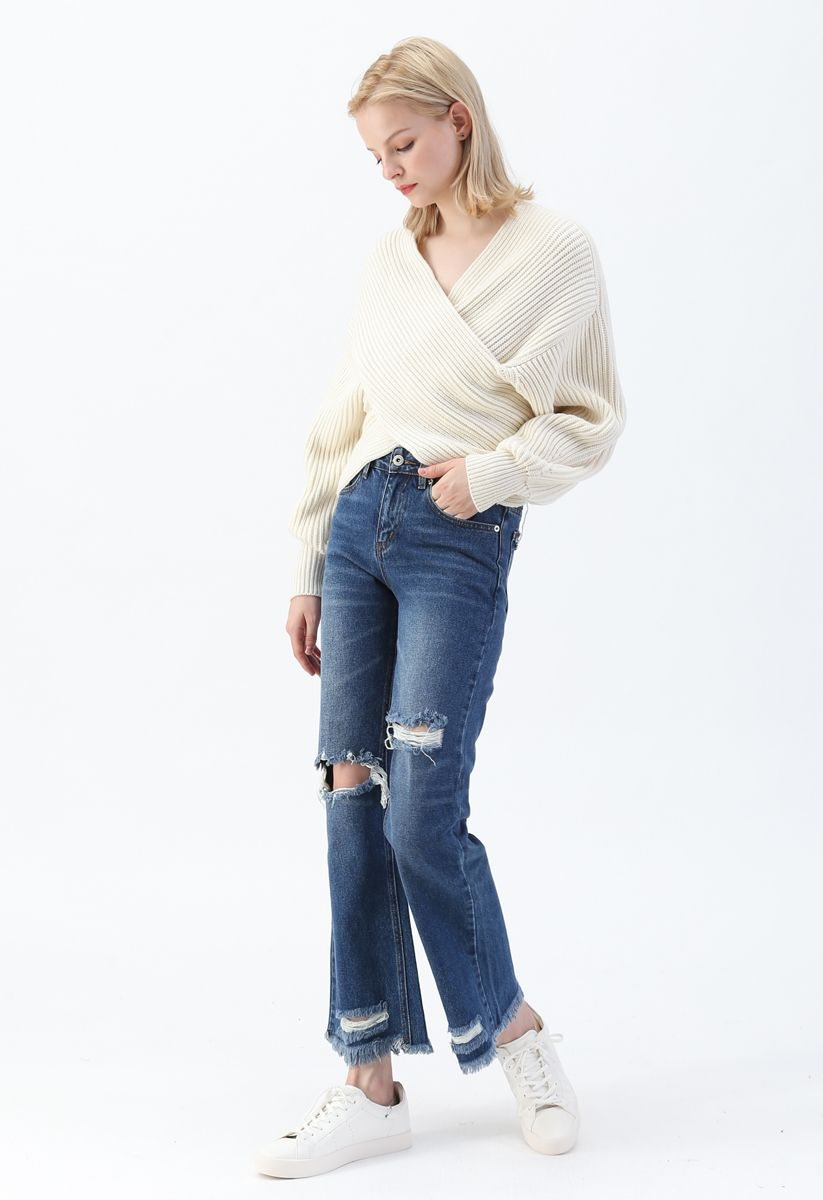 Crisscross Ribbed Knit Crop Sweater in Ivory