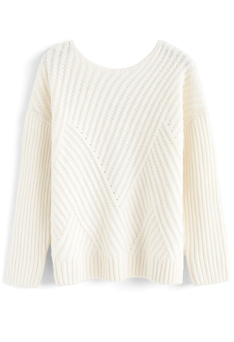Bowknot Cutout Back Ribbed Knit Sweater in Ivory